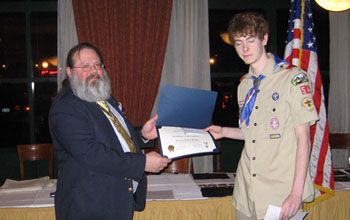 Past President Saunders and Eagle Scout Andrew Hagen - Photo: Duane Booth