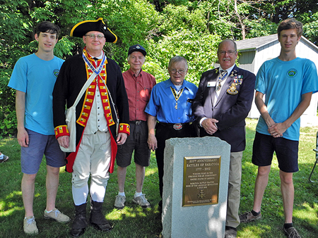 Chapter members braving the heat at the 15th Annual Citizenship Ceremony at Saratoga National Historical Park on July 4th, 2018. (L-R) Christopher Oxaal, President Douglas Gallant, Treasurer David Flint, Registrar Tom Dunne, Tim Mabee and Nicholas Oxaal.