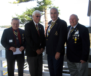 (L-r) Chapter President Tom Dunne, State Society President Duane Booth, Newly Elected Thousand Island Chapter President A. Parks Honeywell and State Society VP Capital Region J. Brian Fitzpatrick at the Bonnie Castle Resort, in Alexandria Bay, NY on October 02, 2014.  The happy occasion was the Thousand Islands Charter Celebration Day with over 40 members and guest attending; Saratoga Battle for the third time was the sponsor of a new chapter.  Parks will continue as a Dual Chapter Member in the Saratoga Battle Chapter.