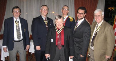 Past Presidents that were in attendance with Incoming President Dunne (l-r): Dennis Marr; Rich Fullam; Tom Dunne; Peter Goebel; Tivo Africa and Duane Booth