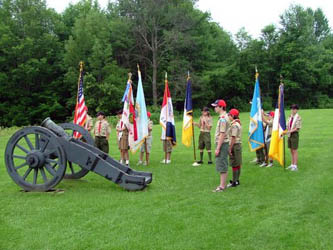 Boy Scouts organize for Presentation of Colors - Photo courtesy of Charles Walter