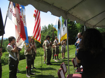 Scouts from Troop 6 present the colors and President Ballard leads us in the Pledge of Allegiance. Troop 6 is great and much appreciated by us.