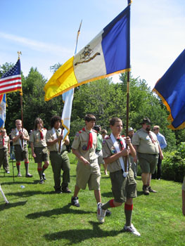 The colors being retired. It can get windy at SNHP and we are grateful to the scouts that they are so attentive.