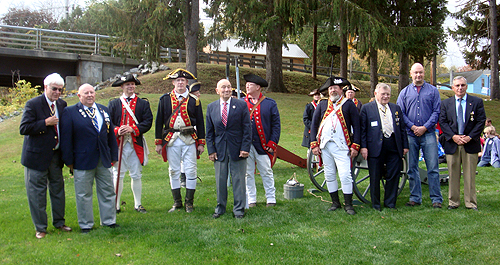 After The Wreath Laying (L-R) Duane Booth, President, Empire State Society - Joe Fitzpatrick, V-P Capital Region, Empire State Society - Mike Skelly and Michael Companion, members of Saratoga Battle Chapter and 2nd Continental - John Sheaff, President Walloomsac Battle Chapter - Brian Companion, 2nd Continental - Peter Hormell member of Saratoga Battle Chapter and 2nd Continental - Tom Dunne President Saratoga Battle Chapter, Daniel Franklin and Pat Festa, Saratoga Battle Chapter - Photo: Thomas Dunne