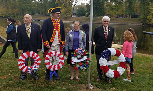 Wreaths honoring all American military were laid by John Sheaff, President Walloomsac Battle Chapter; Douglas Gallant, President Saratoga Battler Chapter; Heather Mabee, Regent Saratoga Chapter, NSDAR; and Duane Booth, President, Empire State Society
