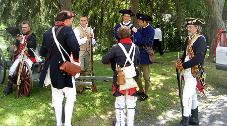 Re-enactors with the 2nd Continental Artillery Regiment