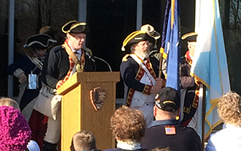 SBC 2nd Vice President Mike Companion reading the list of American units engaged at the Battles of Saratoga