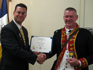 Tivo presents Mike with the Society's Liberty Medal and Certificate
