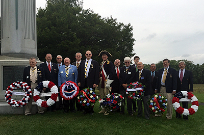 SAR members present - all from Saratoga Battle Chapter unless otherwise noted - L to R: Registrar Thomas Dunne, Historian Karl Danneil, Treasurer David Flint, ESSSAR Vice President Capital Region Joseph Fitzpatrick, Richard Fullam, President Douglas Gallant, National Trustee Col. Peter Goebel, Stephen Coye, Empire State Society President Duane Booth, Christopher Oxaal, Walloomsac Battle Chapter President John Sheaf, Patrick Festa, Genealogist Dennis Marr, Ford Oxaal