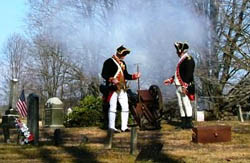 2nd Continental Artillery fires their 2 pound piece - Photo by Charles Walter
